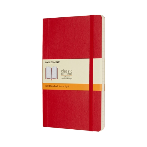 MOLESKINE CLASSIC SOFT COVER - LARGE RED RULED