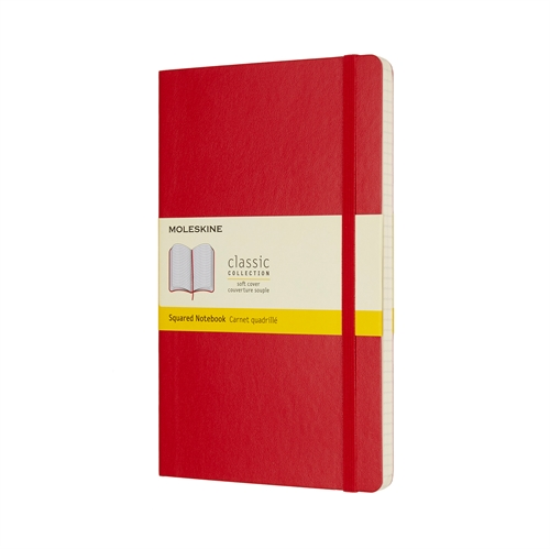 MOLESKINE CLASSIC SOFT COVER - LARGE RED SQUARED