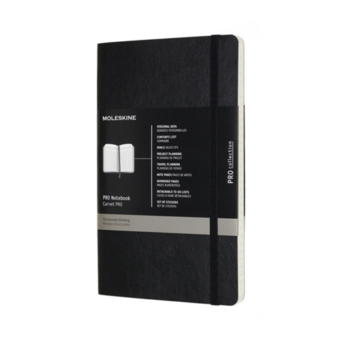 MOLESKINE PRO COLLECTION NOTEBOOK SOFT COVER - LARGE BLACK RULED